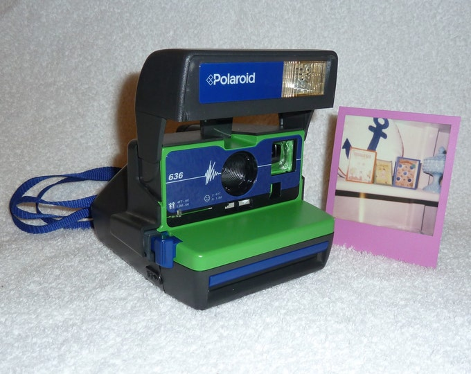 Cleaned & Tested, Upcycled Green and Blue Polaroid 636 OneStep With Close Up And Flash Built-In