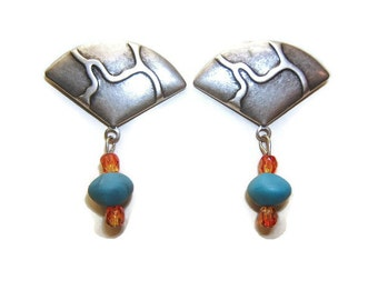Mothers Day Gift, Dangle Earring, Fashion Earrings, Jewelry, Accessories, Silver, Antique Finish, Turquoise Bead, #80041-2, Free Shipping*