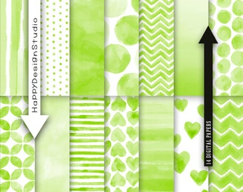 Green watercolor digital paper pack sprin green scrapbook background blog design card wallpaper lime grean pea green watercolour set ombre