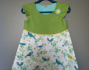 Birds of a feather flocked in lime green  Aline dress