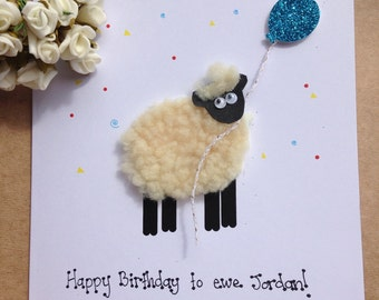Personalised sheep birthday card. Dad friend brother son birthday gift keepsake. Fluffy sheep
