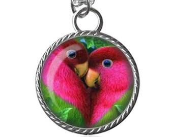 Parrot Necklace, Parrots Necklace, Love Birds Image Pendant Key Chain Handmade