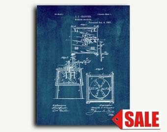 Patent Poster - Washing Machine Patent Wall Art Poster Print