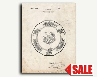 Patent Art - Design For A Plate Patent Wall Art Print