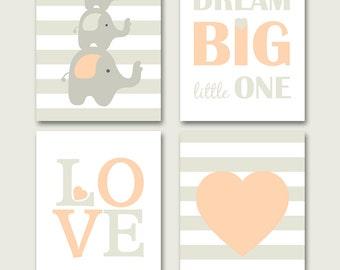 Elephant nursery, grey peach nursery wall art, girls room, elephant printable, pastel peach nursery set, INSTANT DOWNLOAD