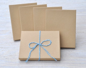10 Kraft 7x5.5x1 Gift Jewelry Necklace Boxes with Cotton Fill Invitation / Photography Natural Craft Box A7