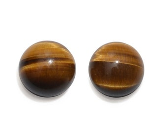 South African Tigers Eye Loose Gemstones Set of 2 Round Cabochon 1A Quality 9mm TGW 4.70 cts.