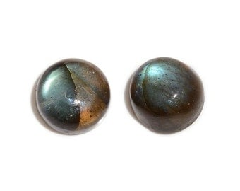 Malagasy Labradorite Round Cabochon Loose Gemstones Set of 2 1A Quality 7mm TGW 3.15 cts.