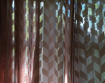 Chevron pattern semi sheer curtains- dusty rose/ pink