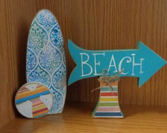 Beach Decor, Summer Decor, Surf board, Beach Ball, Beach Arrow Decor, Set of 2