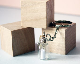 Personalised 'Message In A Bottle' Keyring
