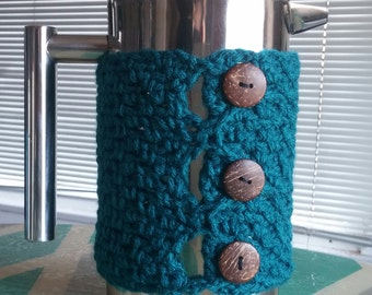 French press cozy w/natural coconut buttons