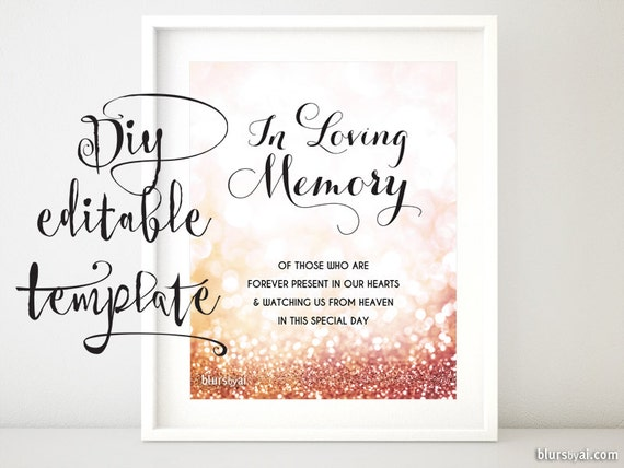 Printable memorial sign TEMPLATE diy wedding memorial sign