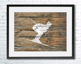 Ski 2 art illustration print, Ski painting, Skiing art, black and white art, Wall art, Rustic Wood art, home decor, Ski print,Gifts for men