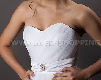 Crystal buckle wedding belt bridal shash with buckle satin white ivory wedding gown belt C1002