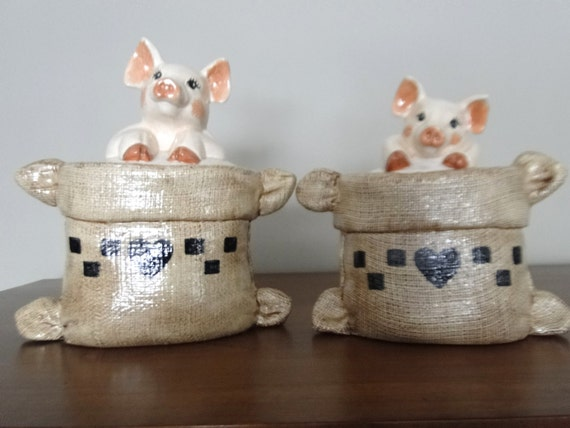vintage two pigs in a sack canisters kitchen storage