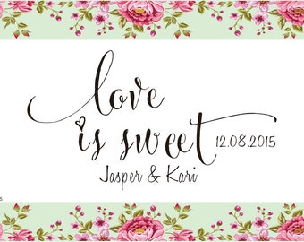 custom Rubber Stamp -Love is Sweet Candy Buffet Favors - Love is Sweet Stamp - Custom Rubber Stamp for DIY card -custom stamps-calligraphy