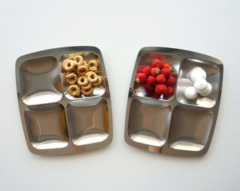 Vintage AMC Tray Set of 2,Trays for starters made of stainless steel, tray with four compartments
