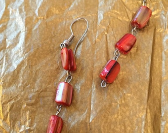 Pearlized Red Mosaic Dangle Earring
