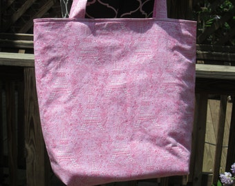 Large Pink Eiffel Tower Tote Bag