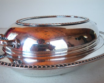Oval Burche silver plate serving dish with lid