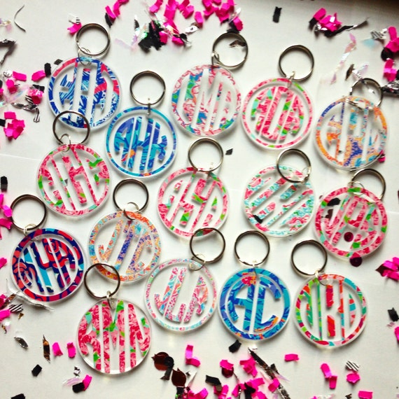 Lilly Pulitzer inspired monogram keychains