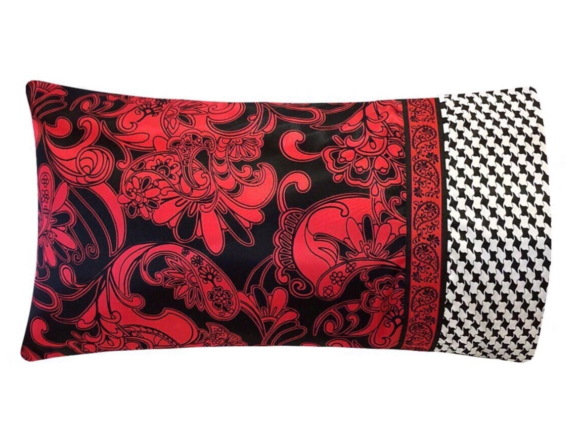 Red Amp Black Flourish Pillow Case Black And Red Satin