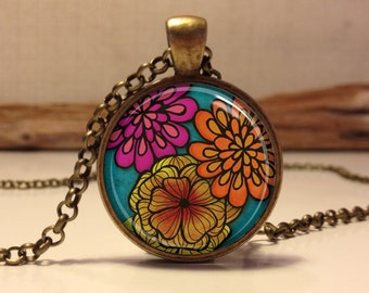 Floral necklace.  Colorful Flowers pendant jewelry (Floral #5)