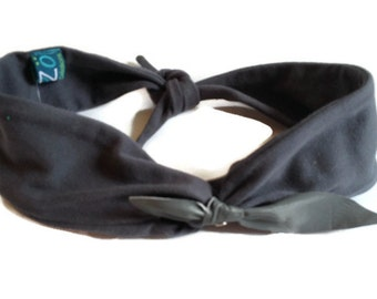 Headband for women grey loop in grey leather
