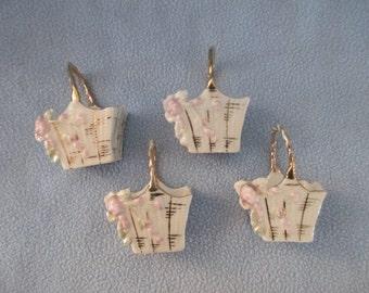 Lovely Tiny China Baskets, Favor Cups, Nut Cups, Miniature Baskets, Porcelain Baskets, Small China Baskets, Shadowbox Basket
