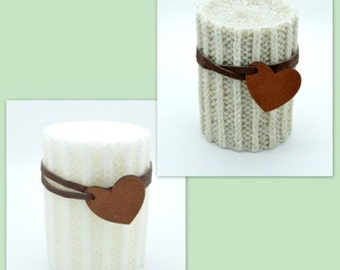 Knitted shape candles with leather strip around