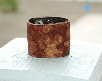 Hidden Money Pocket- Wide Distressed Leather Cuff- Genuine Leather