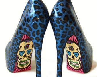 Day Of The Dead Sugar Skull High Heels - Blue Cheetah Print With Crystal Decorated Skulls