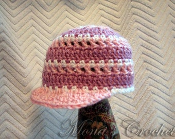 Hand Crocheted Baby Girl Pastel Newsboy Hat | Baby Hat | Newsboy Hat | Baby Shower Gift - Lavender, Pink and White - Size 3 to 6 Months