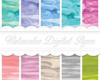 Watercolor Chic Digital Paper Set - Hand painted Digital Paper - Printable watercolor wallpaper - Background Paper
