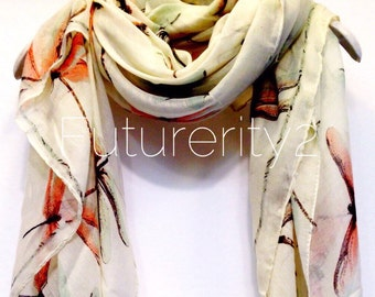Dragonfly Off White Spring Scarf / Summer Scarf / Gift For Her / Womens Scarves / Fashion Accessories