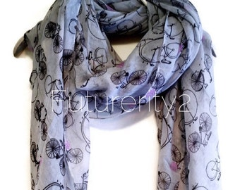 Bicycle Light Grey Spring Scarf / Summer Scarf / Gift For Her / Women Scarves / Fashion Accessories