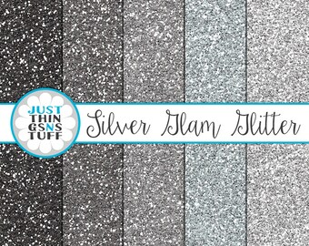 "Glitter Digital Paper ""Silver Glam Glitter"" Seamless Pattern Background Digital Glitter Paper Texture Glitter Clipart Glitter Sparkle Paper"