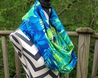 Summer scarf. Infinity Scarf. Tropical Print Scarf. Spring scarf. Cotton scarf.