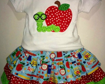 Girls Back To School Boutique Skirt Set Outfit! Twirly Skirt! Embroidered Applique Shirt! Optional Bow Available! 3 4 5 6 7 8 First Day!