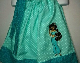 Princess Arabian Jasmine Aladdin Girl Pillowcase Pillow Case Girl Boutique Birthday Party Summer Sun Dress! Sizes 2 3, 4, 5, 6, 7 8 10 12