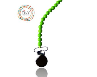 Silicone Pacifier Clip Green - Teething Beads