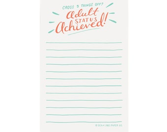Adult Status Achieved! - Grown up Chore List, Funny Notepad, To Do Notes, List, Hand lettered Notepad/N-101