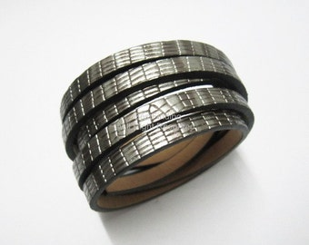1meter 5x2mm Stereo silver leather cord 5mm Flat PU leather cord