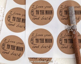 Wedding Stickers, I Love You To The Moon And Back Stickers, 2 1/4inch Round Kraft Stickers, Envelope Seals, Favor Stickers -  PSS040