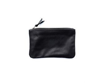 PRIMECUT Black Leather Medium Pouch | Wallet | Purse | Bag | Clutch