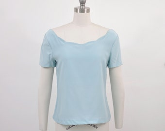 Silk Scalloped Boatneck Pastel Spring Blouse Shirt Top baby sky blue