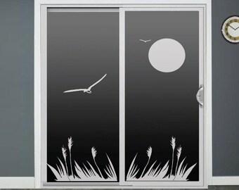 Bird Cattails Glass Door Decals Sliding Door Decal Door Stickers Window Sticker