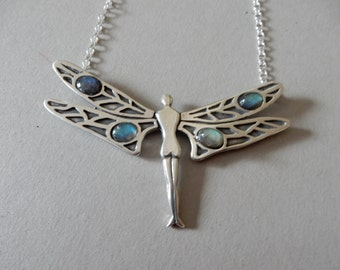 Silver Dragonfly Fairy Necklace set with Labradorite