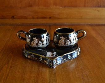 Cups EspressoTea//Coffee Terracotta Hand Painted Gold Leaf